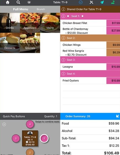 Sample Tableside Transaction in TouchBistro